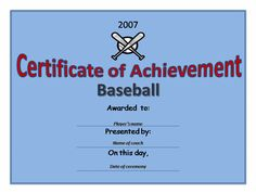 player baseball certificate templetes - Google Search