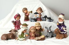 Dona's Sweet Tots Nativity Set Hand Painted Ceramic Finished Completed Child Vtg