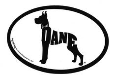 "4""x 6"" euro-style vinyl sticker is perfect for outdoor or indoor use. Background is white. Makes a great gift for your Great Dane friend."