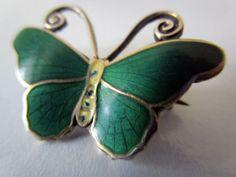 VINTAGE STERLING SILVER GUILLOCHE ENAMEL BUTTERFLY BROOCH / HESTENES, NORWAY in Jewellery & Watches, Vintage & Antique Jewellery, Vintage Fine Jewellery | eBay