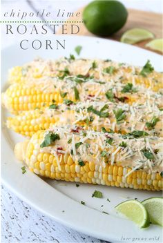 LoveGrowsWild.com | Roasted Corn on the Cob with a delicious spicy Chipotle Lime Sauce!