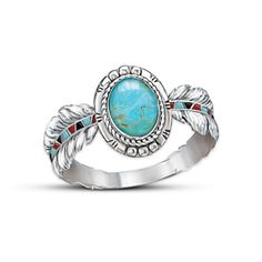 Bradford Exchange Sedona Sky Ring  Solid sterling silver and genuine turquoise Native American-style ring with textured eagle feather designs and hand-enameled accents. With gift box. $99