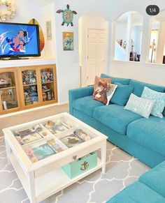 Image may contain: living room, table and indoor Disney Themed Bedrooms, Bedroom Themes, Themed Rooms, Bedroom Ideas, Disney Kitchen Decor, Disney Home Decor, Disney Bathroom, Casa Disney, Disney House