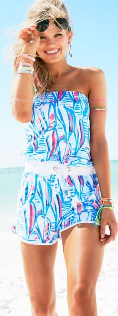 Lilly Pulitzer Dixon Strapless Romper in Red Right Return