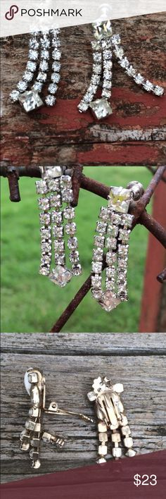 """Stunning Vintage rhinestone screw back earrings Three strands of rhinestones dangle 1 1/2"""" down from a square rhinestone.    All the rhinestones are in place and will be sure to add lots of bling to your wedding or other formal attire. Or add bling with casual!! Whatever makes you feel beautiful!!  Very nice condition. High end vintage Jewelry Earrings"""