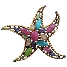 Capri Goldtone and Pastel Graceful Starfish Pin