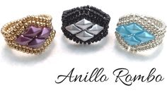 Anillo Rombo con Rocallas y DiamonDuo - Técnica Herringbone -