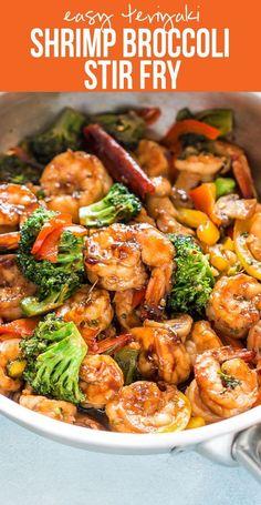 Healthy Teriyaki Shrimp Broccoli Stir Fry Easy Chinese Food 30 minute dinner recipe Fried Rice or Lo Mein Easy Asian Family Dinner via myfoodstory Fish Recipes, Chicken Recipes, Recipies, Shrimp Broccoli Stir Fry, Shrimp Stir Fry Healthy, Shrimp Fried Rice, Stirfry Shrimp, Prawn Stir Fry, Fried Broccoli