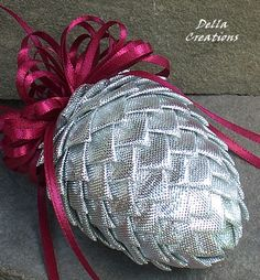 Pierced Ribbon Pinecone Ornament. I made something like this when I was a kid.