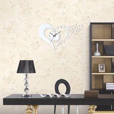 Vogue Stereoscopic Símbolo do Coração Relógio de parede DIY Espelho Adesivos de parede Home Decor - BuyinCoins.com