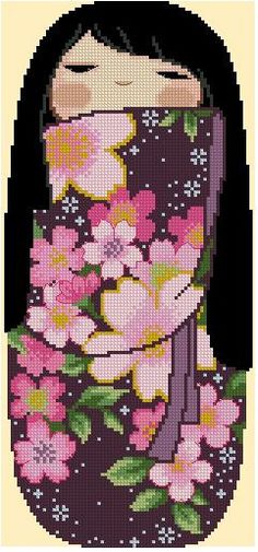 Japanese Kokeshi Girly Doll -KIYOMI -Cross Stitch Pdf Pattern
