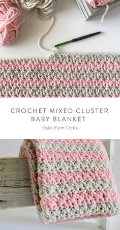 crochet baby blanket Free Pattern - Crochet Mixed Cluster Baby Blanket - I love how my mixed cluster stitch blanket turned out! Free Pattern – Crochet Mixed Cluster Babydecke Free Pattern - Crochet Mixed Cluster Babydecke Source by nurcano Crochet Baby Blanket Free Pattern, Crochet Baby Blanket Beginner, Crochet Afghans, Baby Afghans, Crochet Blanket Stitches, Crochet Baby Blanket Patterns, Crochet For Baby, Crotchet Baby Blanket, Granny Stripe Blanket
