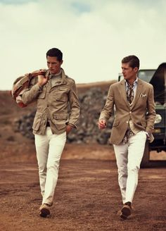 white pants and tan jackets