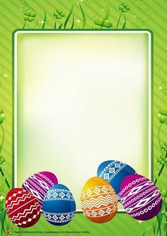 C'est la tradition, pour Pâques il faut peindre des œufs pour décorer sa maison, c'est une activité qui demande de la patience et de la minutie. Les œufs de Pâques peints qui sont représentés sur cette carte peuvent de servir de guide pour tes propres œufs. Les décorations sont simples et géométriques. Bonne fête de Pâques! April Easter, Happy Easter, Christmas Border, Kids Christmas, Easter Crafts, Crafts For Kids, Diy And Crafts, Christmas Letterhead, Easter Backgrounds