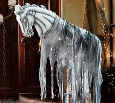 Ghostly Gathering, Lit Ghost Horse at Pottery Barn #halloween #creepy