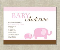 Girl Baby Shower Invitation  Elephant  Pink and by InvitationCeleb, $15.00