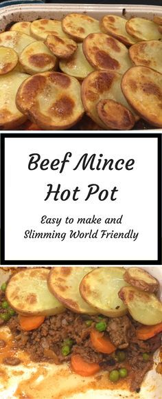 Beef Mince Hot Pot recipe- easy to make dinner recipe and great comfort food. This recipe is Slimming World Friendly.