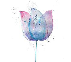Tulip Watercolor Painting, Fine Art Blue Pink Flower Art Print, Girls Gift, Girls Decor