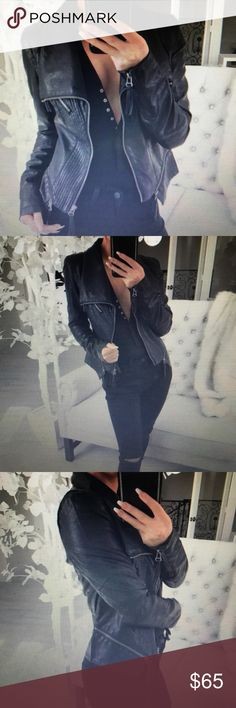 NWT EkAttire ONXY black faux leather jacket Absolutely sad about selling this jacket ... pictures credited to lovely @itselaine. Wanted jacket to fit differently so selling with hopes can sell and buy another should they ever become available. Only tried on and re-packaged. Do not miss this jacket! EkAttire Jackets & Coats