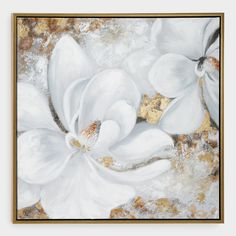 The blending of matte acrylic paint and metallic gold paint on canvas makes this white floral wall art a sweet botanical addition to your decor. The soft colors are accented by a luxe gold frame, adding dimension to any room in the house. Canvas Wall Collage, Canvas Frame, Canvas Art, Metallic Gold Paint, Hanging Artwork, Hanging Frames, Floral Wall Art, Gold Art, Flower Pictures