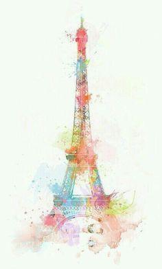 Tour Eiffel à l'aquarelle