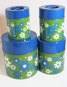 Groovy Vintage Canister Set by UpcycledAndFound on Etsy
