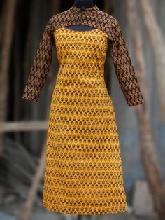 Yellow Rust Black Green Hand Block Printed Ajrakh Kurta With Stand Collar - Neck Designs For Suits, Sleeves Designs For Dresses, Dress Neck Designs, Blouse Designs, New Kurti Designs, Kurti Designs Party Wear, Churidhar Designs, Tye And Dye, Evening Dress Long