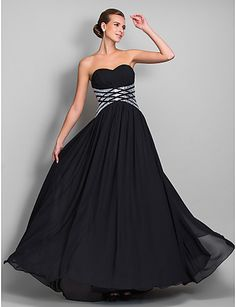 TS Couture® Formal Evening / Military Ball Dress - Black Plus Sizes / Petite Sheath/Column Sweetheart Floor-length Chiffon 2016 - $109.99