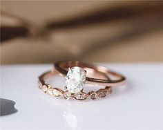 1ct Oval Cut Brilliant Moissanite Engagement Ring Set Solid 14K Rose Gold…