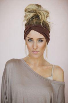 Perfect look when running errands! | Women's Solid Jersey Turban Hair Band Headband or by ThreeBirdNest