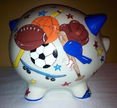 All Star Boy's Sports Theme Design Large Hand Painted Personalized Piggy Bank by RosePaisleyPig  Design includes a variety of sports equipment : soccer skateboarding baseball basketball football & hockey.  Great gift for a baby shower birthday or just because :)  www.etsy.com/shop/rosepaisleypig