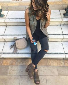 I absolutely love everything about this outfit! The best and shoes are awesome! Love the colors and the ripped black jeans!