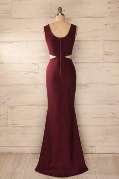 Robe longue soirée bourgogne découpes taille ajustée - Evening maxi fitted waist cut-outs solid burgundy dress