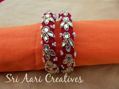 Our New Zardosi Kundhan Bangles (it's not silk thread bangles), It's made of Raw Silk. we stitched the zardosi, so it is durable. Its customised zardosi bangles to match your matching outfits.For orders pls contact - 9842995293 Silk Thread Earrings, Silk Thread Bangles, Thread Jewellery, Diy Jewellery, Fashion Necklace, Fashion Jewelry, Anklet Designs, Bangles Making, Bangle Set