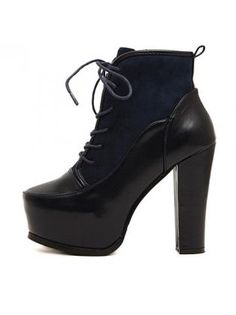 Exclusive Round Toe Lace Up Ankle Boots Black and Navy