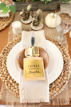 Thanksgiving Tablescape- rustic- tablescape- Thanksgiving- holiday table- Thanksgiving decor- table setting- home decor- place cards- diy