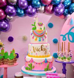 Girl Dinosaur Birthday, 10 Birthday Cake, Mexican Birthday, Llama Birthday, Little Girl Birthday, Mexican Party, 6th Birthday Parties, Birthday Party Decorations, Fiesta Cake