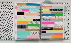 Washi tape art journal planner pages by Ashley Goldberg. Great way to not only art journal but also document your washi tape collection! Artist Journal, Art Journal Pages, Junk Journal, Art Journals, Bullet Journal, Planners, Collages, Tape Art, Creative Journal