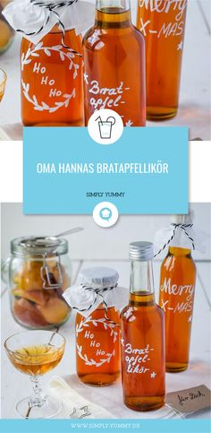 Oma Hannas Bratapfellikör Roasted apple liqueur made by grandma - gifts from the kitchen appl Roasted Apples, Baked Apples, Xmas Food, Christmas Drinks, Simply Yummy, Hanna, Alcoholic Drinks, Cocktails, Liqueur