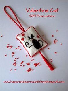 Cross Stitch Ideas Valentine Cat Cross Stitch Pattern - Valentine Cat Freebie Pattern available here. Designed and stitched by Lynn B. Cat Cross Stitches, Cross Stitch Needles, Cross Stitching, Cross Stitch Embroidery, Mini Cross Stitch, Cross Stitch Heart, Cross Stitch Animals, Cross Stitch Designs, Cross Stitch Patterns