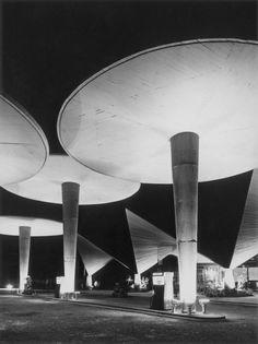 Gas Station by Architect Juan Haro Piñar / Oliva, Valencia 1960 Backyard Canopy, Garden Canopy, Diy Canopy, Canopy Outdoor, Window Canopy, Canopy Bedroom, Fabric Canopy, Canopy Tent, Architects