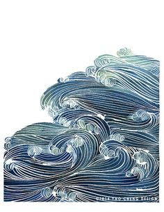 Ocean Waves in Blue and Green Watercolor by YaoChengDesign on Etsy, $25.00