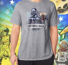 Darth Vader Men's Imperial Dark Stout in full color on a Sport Grey Performance Tee Men's Craft Beer T Shirt Star Wars Beer T-shirt