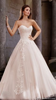 David Tutera for Mon Cheri Spring 2017 bridal strapless sweetheart neckline heavily embellished bodice tulle skirt romantic blush color a line wedding dress chapel train (117267) mv #wedding #bridal #romantic