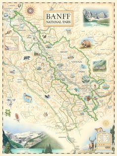 Hand-Drawn Map of Banff National Park