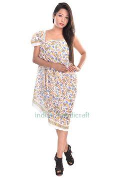 Cotton Hand Print Sarong Beach Pareo Cover Up Dress Swimsuit Wrap Hijab ST2 #VRA #ShawlWrap