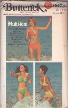 db67c12f88 Butterick 6674 Vintage 70 s Sewing Pattern FOXY MULTI-KINI Charlie s Angel s  Disco Era Bikini Bathing
