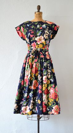 vintage dark floral cotton dress   Efflorescent Dress from Adored Vintage