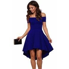 73600c0319 Lato Kobiety Sexy Slash Neck Krótki rękaw Sukienka Off Shoulder Eleganckie  sukienki Damskie Party Solidna jaskółczy