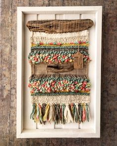 An August Walk in the Woods Woven Wall Hanging ~ Grace Mahoney Weaving with wire, buttons and beads. An August Walk in the Woods Woven Wall Hanging ~ Grace Mahoney… Weaving Textiles, Weaving Art, Tapestry Weaving, Loom Weaving, Hand Weaving, Weaving Wall Hanging, Wall Hangings, Weaving Projects, Weaving Techniques